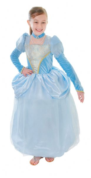 Girls Blue Princess Dress + Choker Costume Royal Fairytale Fancy Dress Outfit